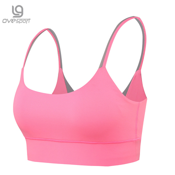 OVESPORT 5 Colors Women's Yoga Bras Padded Breathable Sport Bra High Support Shockproof Running Gym Workout Tops Patchwork Bras