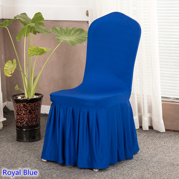 Lycra chair cover with skirt all around royal blue Ruffled lycra spandex stretch banquet chair cover for wedding decoration